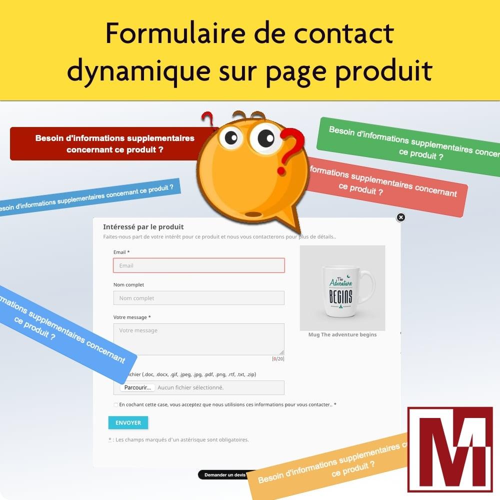 Affichez un formulaire de contact dynamique sur page produit
